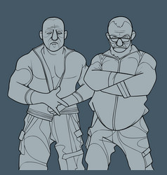Sketch two cartoon menacingly looking brutal vector