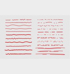 Sketch underline red scribble stroke borders vector