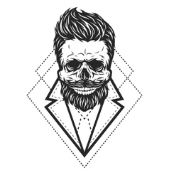 Skull hipster style vector image vector image