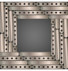 Steampunk background metal plates Frame vector