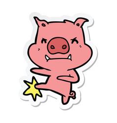 Sticker a angry cartoon pig karate kicking vector