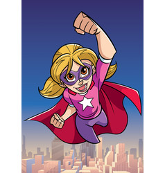 Super girl flying sky background vector