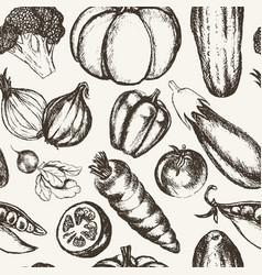 Vegetables - black and white hand drawn seamless vector