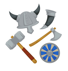 viking armor and weapon horned helmet and ax with vector image