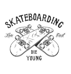 Vintage monochrome skateboarding activity logotype vector