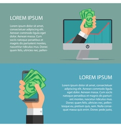 Wallet app page on smartphone screen and computer vector image