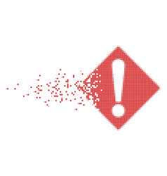 Warning dissipated pixel icon vector