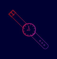 watch sign line icon with vector image vector image