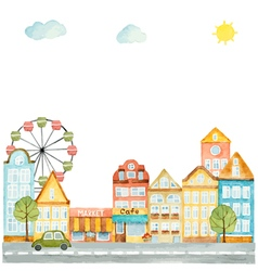 Watercolor elements urban design houses cars vector