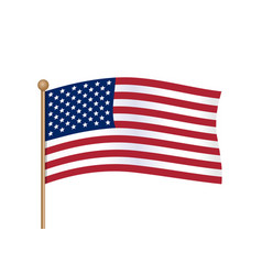 waving american flag on pole usa flag vector image