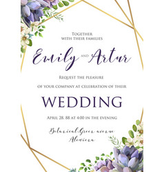 wedding floral invitation save the date card vector image