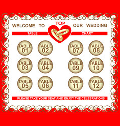 Wedding frame seating plan table chart vector