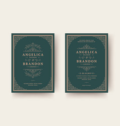 Wedding invitation and save date cards vector