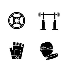 Weightlifting black glyph icons set on white space vector