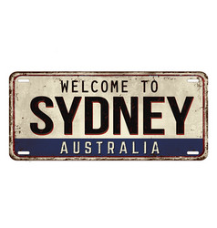 Welcome to sydney vintage rusty metal plate vector