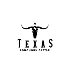 western bull cow head silhouette with star and tex vector image