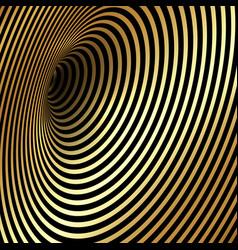 wormhole optical illusion gold luxury background vector image