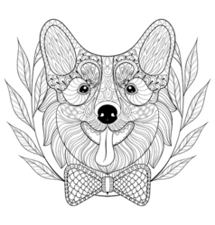 Zentangle Welsh Corgi with bow tie in wreath frame vector