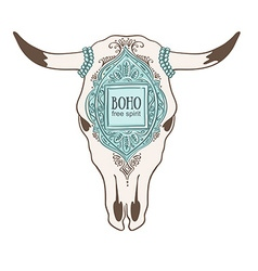 Hand drawn cow skull with ornamental frame vector image