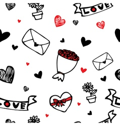 Hearts and flower symbol cartoon seamless vector image vector image