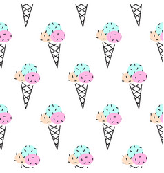 ice cream cone seamless pattern pop art vector image vector image