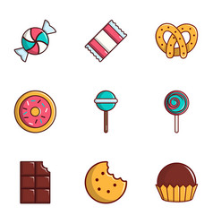 sweets icons set flat style vector image vector image