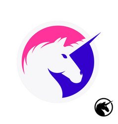 unicorn logo with head and horn silhouette vector image vector image