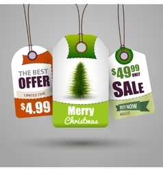 Christmas sale tags vector image vector image