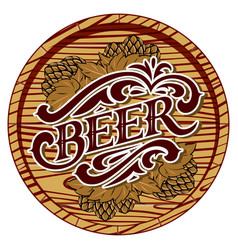 color with beer barrel and hop vector image
