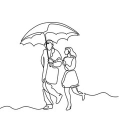 couple walking under umbrella vector image