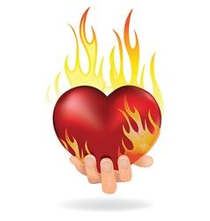 heart in fire vector image vector image