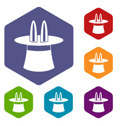 magic hat icons set vector image vector image