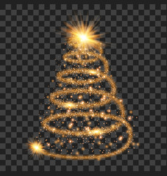 orange particle wave in form of christmas tree vector image vector image