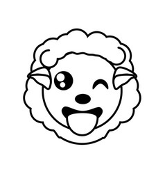 sheep face animal outline vector image vector image