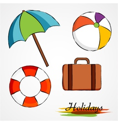 Summer holidays items vector image