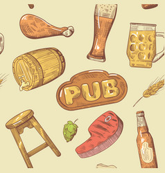 beer pub hand drawn seamless pattern brewery vector image vector image