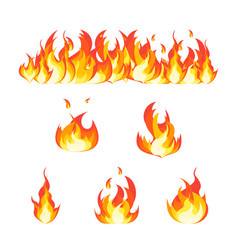 cartoon fire flames set and line vector image vector image