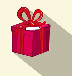 Gift Box Red and Pink Retro Flat Design Present vector image