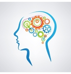 mans head with brain made of gears think and vector image vector image