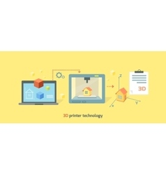 Printer Technology Icon Flat Design vector image