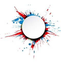 Round paper note over ink splash vector image