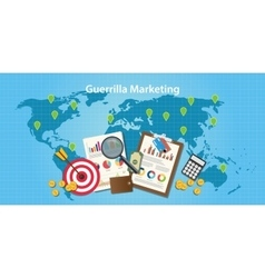 guerilla marketing concept with world map and vector image