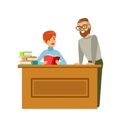 Man Flirting With Woman Reading Book At The Table vector image vector image