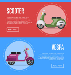 Vespa scooter flyers with classic city mopeds vector