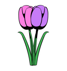 Violet tulip icon cartoon vector