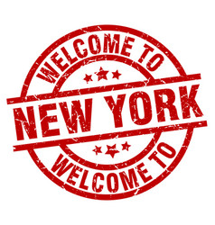 welcome to new york red stamp vector image vector image