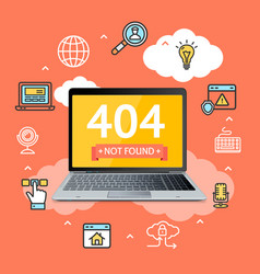 404 not found page in computer concept vector image