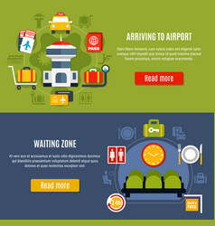 Airport online information service banners vector