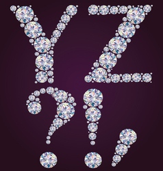Alphabet of diamonds YZ vector image