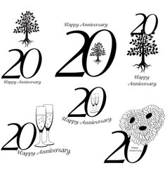 Anniversary 20th signs collection vector